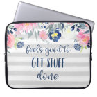 Feels Good to Get Stuff Done | Watercolor Floral Laptop Sleeve