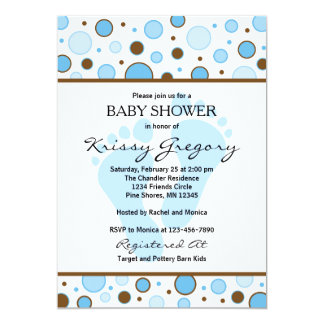 Feet and Dots Blue Baby Shower Invitations