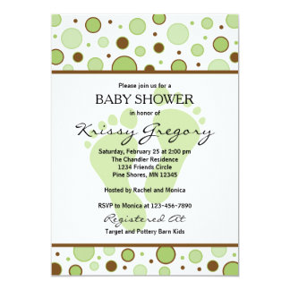 Feet and Dots Green Baby Shower Invitations