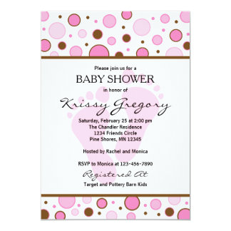 Feet and Dots Pink Baby Shower Invitations