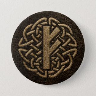 Fehu Rune Ancient Metal Embossed Amulet 7.5 Cm Round Badge