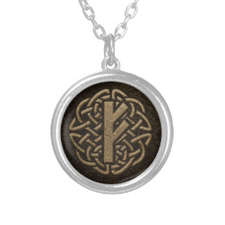 Fehu Rune Ancient Metal Embossed Amulet Silver Plated Necklace