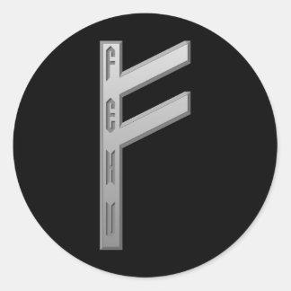 Fehu Rune grey Classic Round Sticker