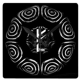 ☼Fehu - Rune of Luck & Prosperity☼ Square Wall Clock