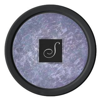 Feisty Play | Monogram Purple Lavender Splatter | Poker Chips