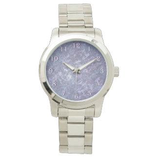 Feisty Stylish Metallic Purple Abstract Splatter Watch