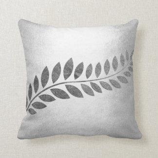 Felice Leaf Silver Floral Botanical Gray Monochrom Throw Pillow