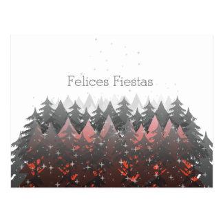 Felices Fiestas White Red Trees Stars Christmas Postcard