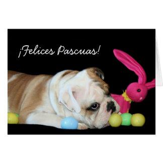 ¡Felices Pascuas!  tarjeta de bulldog Ingles Card