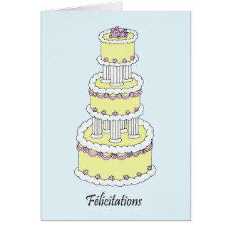 Félicitations, pastel coloured wedding cake. greeting card