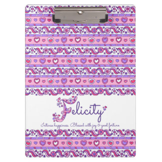Felicity name meaning hearts letter F clipboard