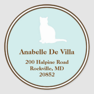 Feline blue brown cat custom name address label round sticker