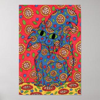 Feline Flower Frenzy Poster