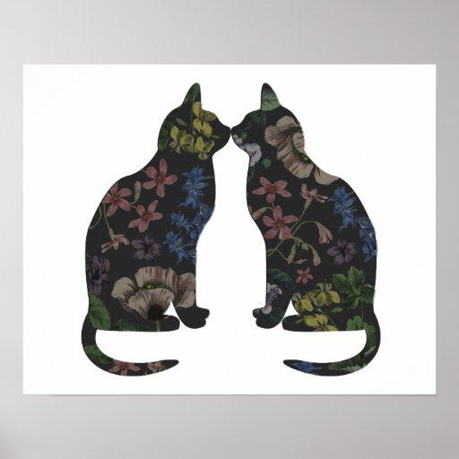 Feline Flowers Print