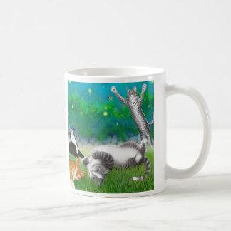 Feline Fun with Fireflies Mug