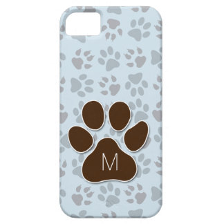 Feline Lover's Blue and Brown Paw Prints Monogram iPhone 5 Covers