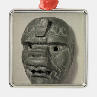 Feline mask of a man, from Oaxaca, Pre-Columbian Silver-Colored Square Decoration