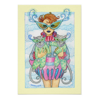 Feline Masquerade Print