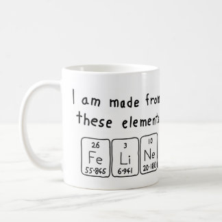 Feline periodic table name mug