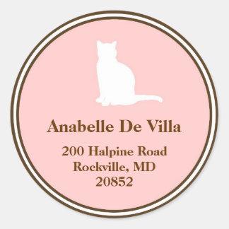 Feline pink brown cat custom name address label round sticker