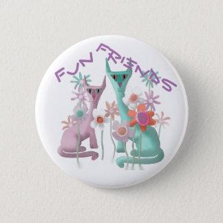 Felines in Flowers 6 Cm Round Badge