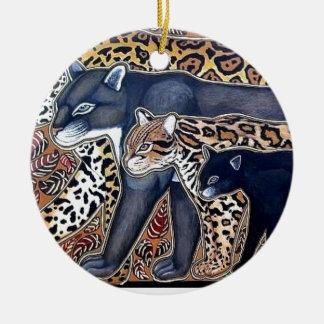 Felines of Costa Rica - Big cats Round Ceramic Decoration