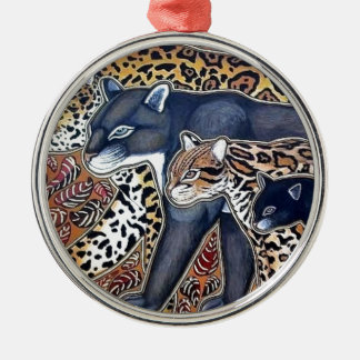 Felines of Costa Rica - Big cats Silver-Colored Round Decoration