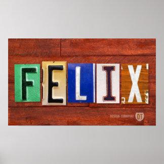 FELIX License Plate Letter Name Custom Sign Poster