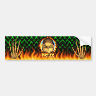 Felix skull real fire and flames bumper sticker de