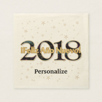 ¡Feliz Año Nuevo! 2018 Stars Fireworks Gold Paper Serviettes