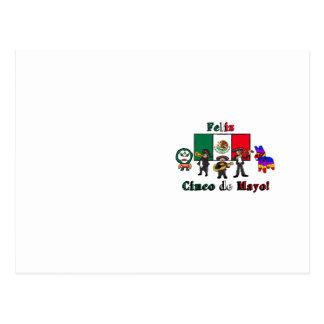 Feliz Cinco de Mayo! Holiday Cartoon Illustration Postcard