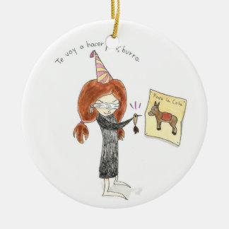 Feliz Cumpleanos Burro Adorno Double-Sided Ceramic Round Christmas Ornament