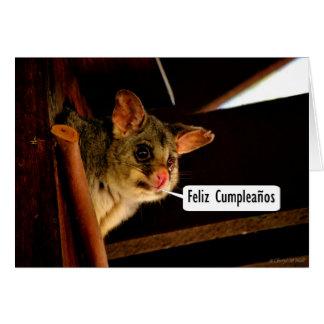 Feliz Cumpleaños Spanish Birthday with possum Card