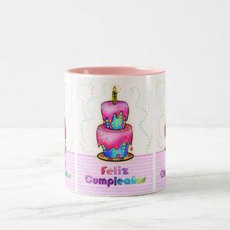Feliz cumpleaños Spanish fun Birthday Cake gift Two-Tone Coffee Mug