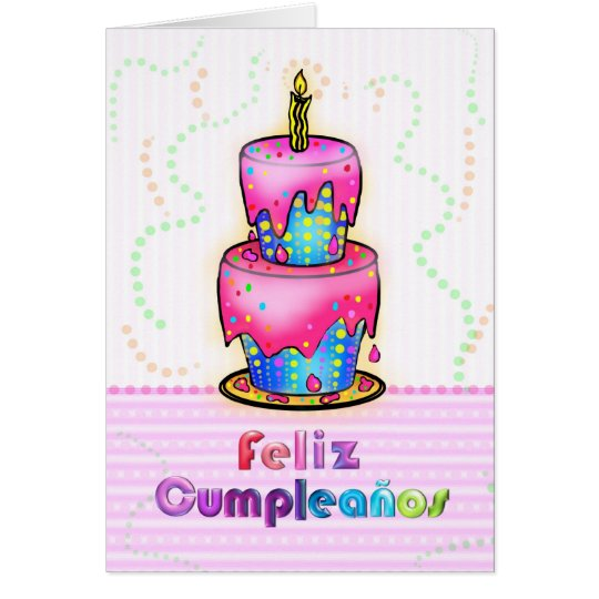 Feliz Cumpleaños Spanish Fun Birthday Cake Pink Card