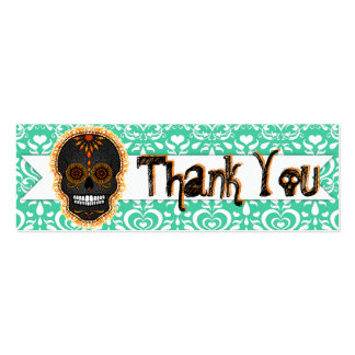 "Feliz Muertos - Custom Sugar Skull ""Thank You"" Tag Business Cards"