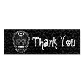 "Feliz Muertos - Custom Sugar Skull ""Thank You"" Tag Business Card Templates"