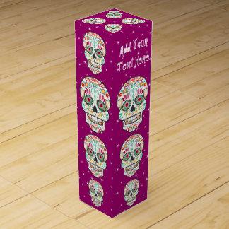 Feliz Muertos- Festive Sugar Skull Custom Wine Box