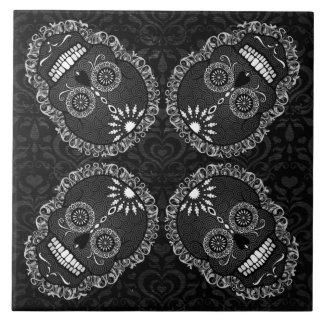 Feliz Muertos - Festive Sugar Skull Pattern Tile