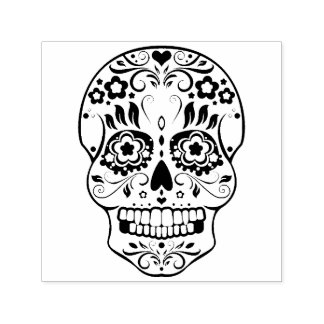 Feliz Muertos Festive Sugar Skull Self-Ink Stamp