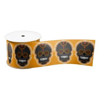 Feliz Muertos - Festive Sugar Skulls Satin Ribbon