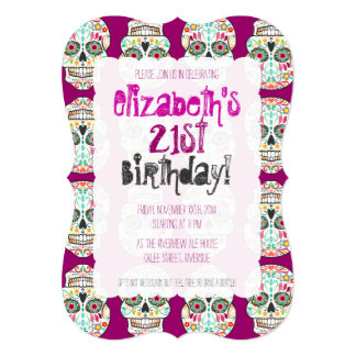 Feliz Muertos Skulls on Purple Custom Invitations