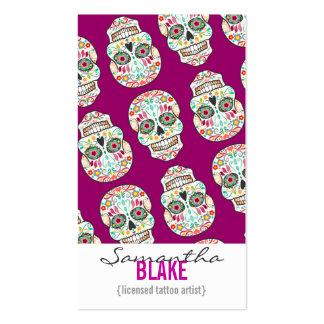 Feliz Muertos - Sugar Skull Vertical Bizcards Business Card Template