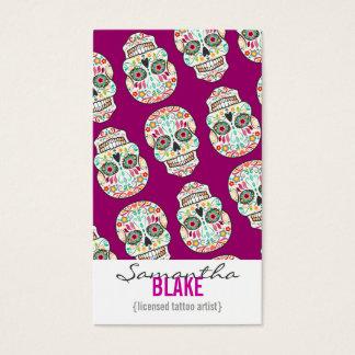Feliz Muertos - Sugar Skull Vertical Bizcards Business Card