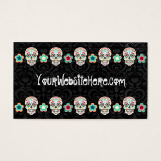 Feliz Muertos - Sugar Skulls on Damask Bizcards Business Card
