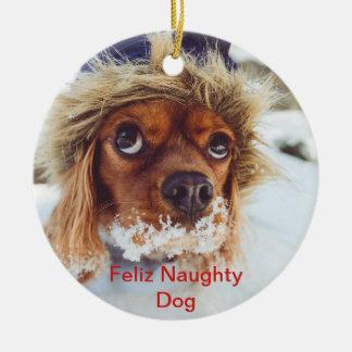 Feliz Naughty Dog Captioned Christmas Pet Photo Ceramic Ornament