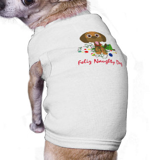 Feliz Naughty Dog Cartoon Pet Christmas Shirt