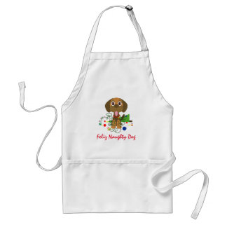 Feliz Naughty Dog Christmas Cartoon Standard Apron