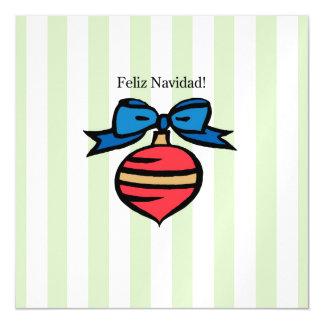 Feliz Navidad 5.25 x 5.25 Thin Magnetic Card Green Magnetic Invitations