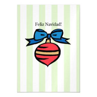 Feliz Navidad 5x7 Thin Magnetic Card in Green Magnetic Invitations